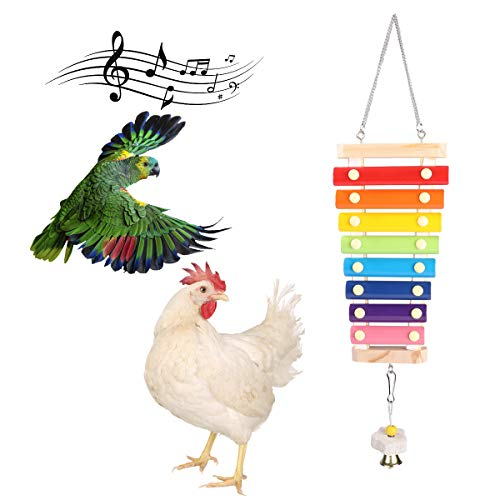 WSpring Chicken Xylophone Toy Suspensible Wooden Chicken Toys for Hens with 8 Metal Key Chicken Coop Pecking Toy with Bell