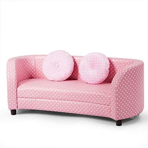HONEY JOY Kids Sofa, 2 Seater Toddler Armchair w/Two Round Pillows, Children Sized Couch Lounge Bed for Playroom & Bedroom, Mini Loveseat Sofa Chair for Preschool Girl, Pink