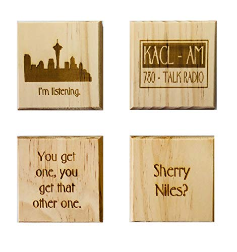 Frasier coasters (By Brindle Designs): Wood coaster set of 4 - KACL, Sherry Niles?, I'm Listening, and You Get One