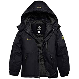 GEMYSE Boy's Waterproof Ski Snow Jacket Hooded Fleece Windproof Winter Jacket