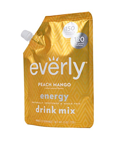 Everly Energy - Natural Energy Drink Mix Powder, Sugar Free, Natural Sweeteners, Organic Caffeine, Keto Diet, Water Flavoring & Enhancer - Pouch, 20 Servings (Peach Mango)