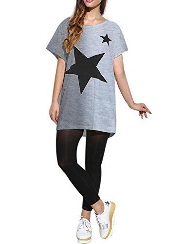 LATH.PIN Maglietta Maniche Corte Donna Camicie e Bluse Estive, Batwing Dolman T-Shirt Casual Top Bianco
