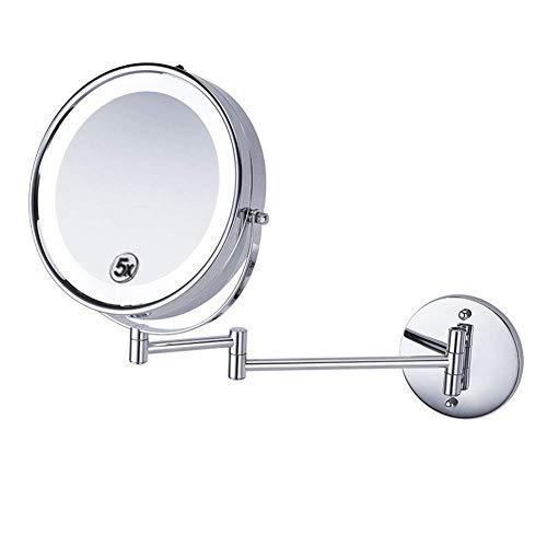 LULUTING Espejo de maquillaje Cuarto de baño de afeitar Espejo montado en la pared de 8,5 pulgadas maquillaje espejo con luces LED y 5 aumentos Espejo de baño 360deg;Libre rotación del brazo extensibl