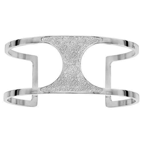 Hora & minutos–Pulsera Rígida–acero precortado–Glitter Plata