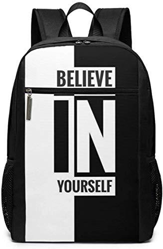 huatongxin 17-Inch Backpack Believe in Yourself Mochila para portátil de Escuela de Negocios Bolsa de Senderismo de Viaje para Hombres y Mujeres