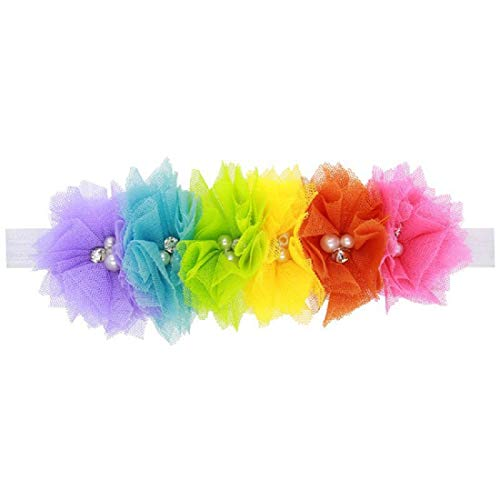 Floral Fall Baby Girls Rainbow Elastic Colorful Flower Headbands Hair Bands BY-14 (A-tulle flower)