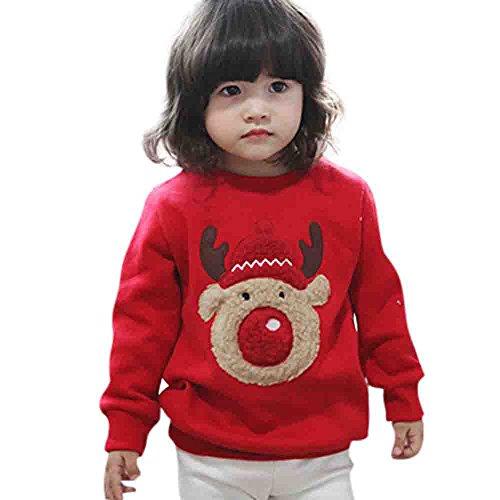 Mbby Felpe Neonato Natale Invernali 1-4 Anni Bimba Ragazze E Ragazzi Maglietta Renna Stampe Girocollo Manica Lunga Addensare Caldo Natalizio Pullover Maglione Felpa