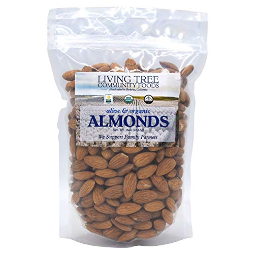 Living Tree Community Foods Organic Almonds Raw - Certified Organic, Gluten-Free, Kosher - Unsalted Bulk Nuts Grown by California Family Farmers - Source of Magnesium, Zinc and Calcium - 1 lbs