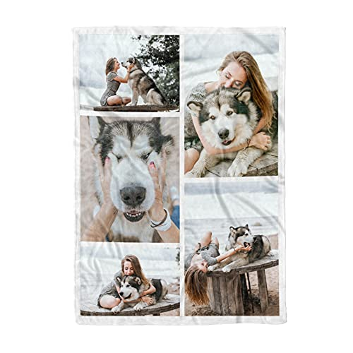 Personalized Throw Blanket. Custom Blanket with 1-9 Photo Collages. Customized Blankets for Family, Friends, Dogs or Pets, Used as Souvenirs and Gifts (5 Photos Collage, 32X48in(80x120cm))