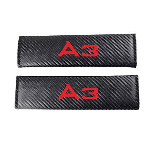 TYMDL 2 Piezas Fibra Carbono Coche Cinturón Seguridad Almohadillas Protectoras Hombro para Audi A3 All Models, Amortiguador Protectores Estilo Carreras