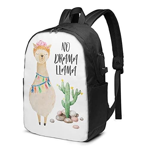 Carino Llama Cactus Pattern Zaino, Viaggio Laptop Zaino con Porta di Ricarica USB per Uomini e Donne 17 pollici, Come mostrato, Taglia unica,