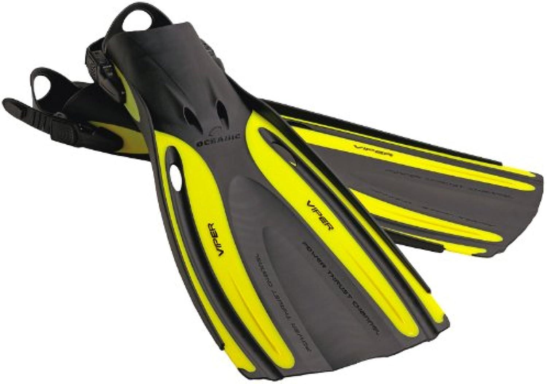 Oceanic New Viper Open Heel Scuba Diving Fins  Yellow (Size 1112 XLarge) FBM