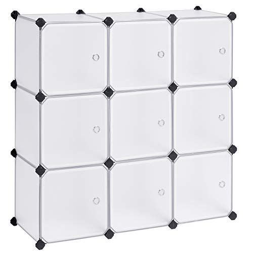 SONGMICS Cube Storage Organizer, 9-Cube DIY Plastic Closet Cabinet, Modular Bookcase, Storage Shelving with Doors for Bedroom, Living Room, Office, 36.7 L x 12.2 W x 36.7 H Inches,...