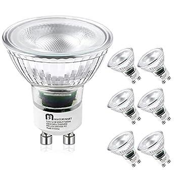 LED GU10 Spotlight Light Bulbs 50 Watt Equivalent 5.5W Dimmable Full Glass Cover Reflector 5000K Daylight 25000 Hours UL Listed Energy Star by Mastery Mart  Pack of 6