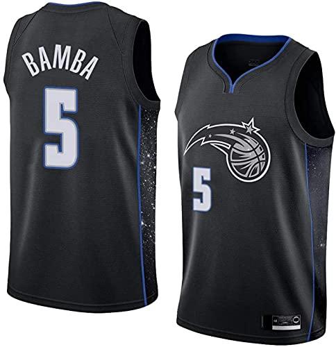 ZMIN Camisetas de la NBA del Baloncesto de los Hombres, Orlando Magic # 5 Bamba Transpirable y Chaleco de Secado rápido Tops sin Mangas Camisetas,Negro,L