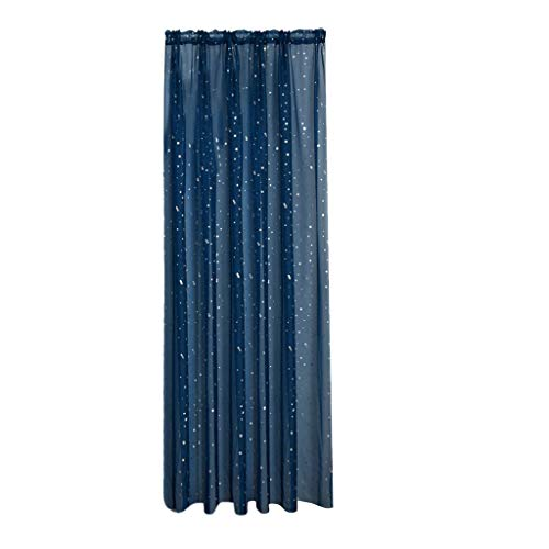 Xmiral Türvorhang Tüll Stern Heiße Silberne Gardine Transparent Dekoration Gardine Für Kinderzimmer Wohnzimmer Schlafzimmer(Marine Blau,100cmx270cm)