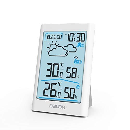 TEKFUN Wetterstation Funk mit Außensensor, Digital Thermometer Hygrometer Innen und Außen Raumthermometer Hydrometer Feuchtigkeit mit Wettervorhersage, Uhrzeitanzeige, Wecker und Nachtlicht (Weiß)