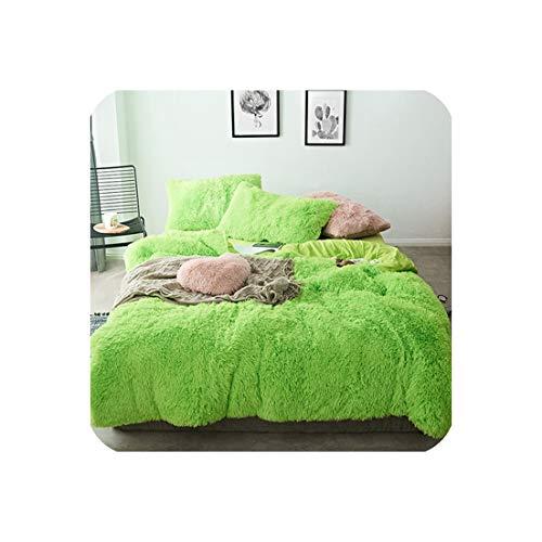 Goods-Store-uk Pure Color Mink Velvet Bedding Sets 20 colors lambs wool Fleece Flat Sheet Duvet Cover Fitted Sheet Queen King size 4/6/7pcs,BNJF11,Queen size 4pcs,Flat Bed Sheet