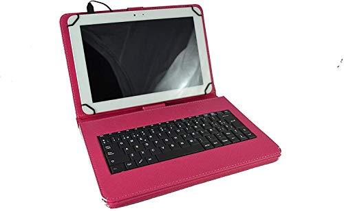 theoutlettablet Funda con Teclado extraíble en español (Incluye Letra Ñ) para Tablet Samsung Galaxy Tab S5e 10.5' / Tab S6 Lite 10,4' / Tab S7 11' - Type-C Color Fucsia
