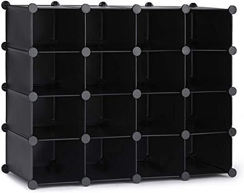 HOMIDEC 16-Cube Regalsystem, Aufbewahrungsregal Bücherregal mit Hammer, Aufbewahrungswürfel Organizer Schrank für Kinder, Schrank, Schlafzimmer, Badezimmer(schwarz)