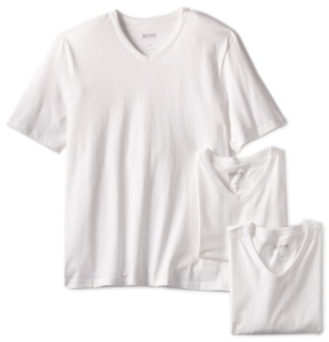 BOSS HUGO BOSS Men's 3-Pack Cotton V-Neck T-Shirt, White, Large
