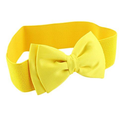 ECYC Damen-Mode-Bowknot elastische breite Stretch-Wölbung Bund Gürtel cinch