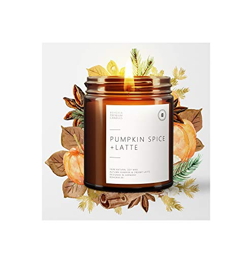 BOHORIA® Premium Wohlfühl-Kerze aus natürlichem Sojawachs – Enthält natürliche ätherische Öle – Duftkerze (Pumpkin Spice Latte)