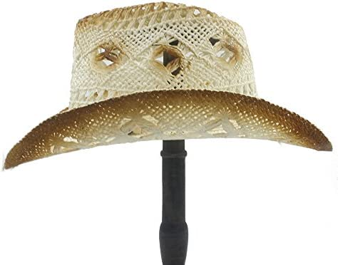 JIADUOBAOSEN Straw Western Cowboy Hat Gentleman Summer Cowgirl Jazz Cap Dad Fedora Hat