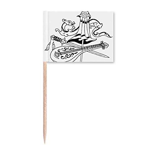 Chinesischer Regenschirm Schwert Drache Zeichnung Zahnstocher Flaggen Marker Topper Party Dekoration
