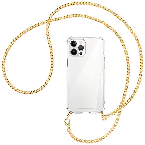 mtb more energy Collar Smartphone para Apple iPhone 12 Pro MAX (6.7'') - Cadena de Metal (Oro) - Funda Protectora ponible - Carcasa Anti Shock con Cuerda Correa