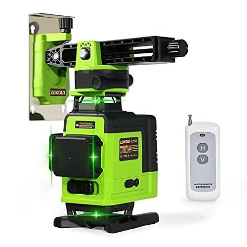 Zokoun Boden und Wand des Lasermoduls Leistungsstarkes Grün 16 Linien, um 360 ° drehbare selbstnivellierende Laserebene Horizontales und vertikales Kreuz mit drahtloser Steuerung 4D-Laserebene (IE16R)