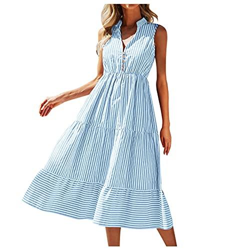 ZiSUGP Vestito Jeans Donna Abito Longuette Casual Fluido a Righe con Scollo a V Senza Maniche Estivo da Donna Vestito Donna Autunno Corto Jeans Vestito Donna Estivo Lungo Taglia Forte Medium Blu