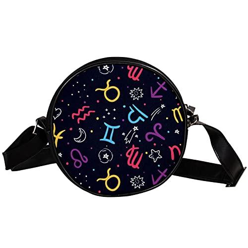 Bolso cruzado redondo pequeño bolso de las señoras bolsos de hombro de la moda bolso de mensajero bolsa de lona bolsa de cintura accesorios para las mujeres - patrón del zodiaco