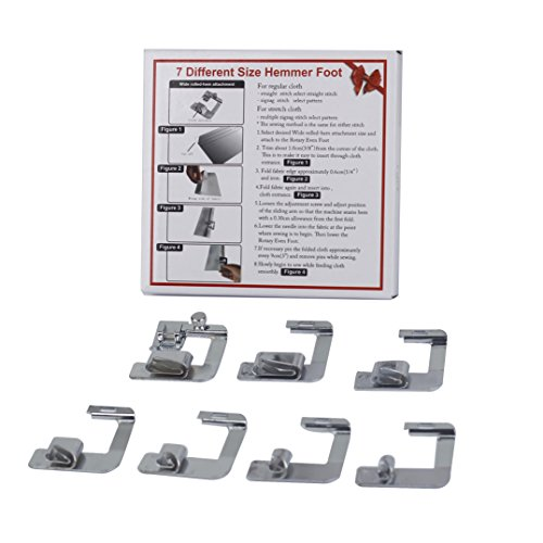 HONEYSEW Rolled Hemmer Presser Foot for Brother Singer Janome Sewing Machine 7pcs in 1 Set