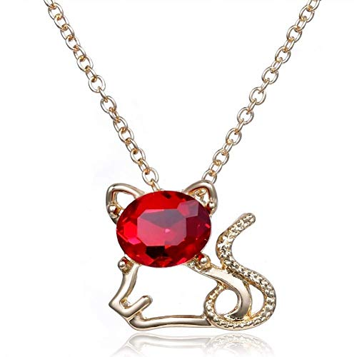 Gepersonaliseerde accessoires, Kettingen, Rode Gem Leuke Kat Sieraden Ketting voor Vrouwen Meisjes Kinderen Gift Choker Hanger Ketting, Thumby 45cm
