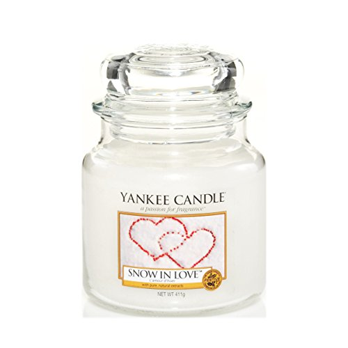 Yankee Candle 1249714E Snow in Love Candele in Giara Media, Vetro, Bianco, 10.1X9.8X13.2 Cm, fragranze naturali