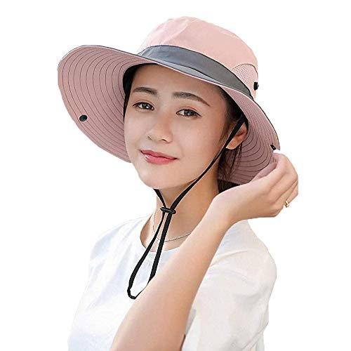 WITERY Sonnenhut für Damen, UV-Schutz, faltbar, breite Krempe, für Reisen, Wandern, Angeln, Strand, Wassermelone Gr. M, rose