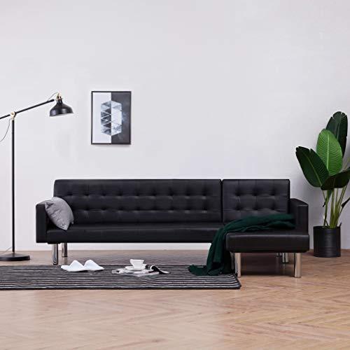 VidaXL Canapé convertible en forme de L pour lit d'appoint, canapé d'angle en cuir synthétique Noir