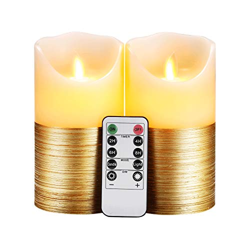 Flameless Candles LED Candles Set of 2 (D3.25' x H6') Ivory Real Wax Gold Trim Pillar Battery Operated Candles with Dancing LED Flame 10-Key Remote and Cycling 24 Hours Timer