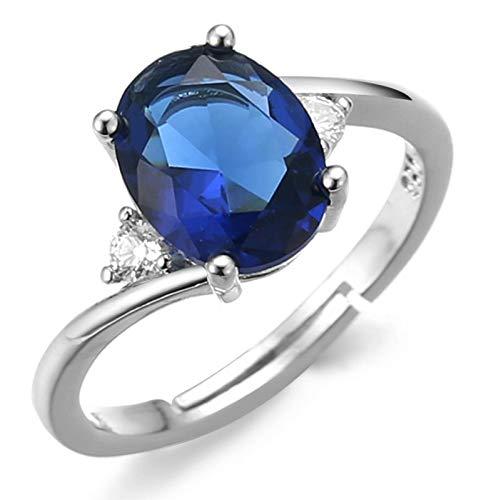 Halukakah Anillo de Diamantes con Cristal de Piedras Preciosas Azules,Hombre Chapado en Platino de Oro Blanco Real 18k Auricular Diamantes de Laboratorio Tamaño Ajustable con Caja