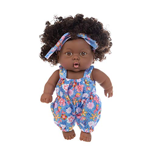 Athemeet Schwarz-Puppe-Baby 20cm Puppe African Black Girl Baby, Baby-Puppen, naturgetreue Simulation Spielzeug mit lila Blumenkleidung für Kinder Geschenke Festivals