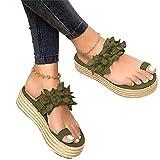 Sandalias Mujer Verano 2020 Zapatos de Plataforma Florales Cuña Sandalias para Mujer Verano Zapatos de Boca de Pescado Playa Zapatillas Sandalias de Punta Abierta Fiesta Roman Tacones Altos,Verde,42