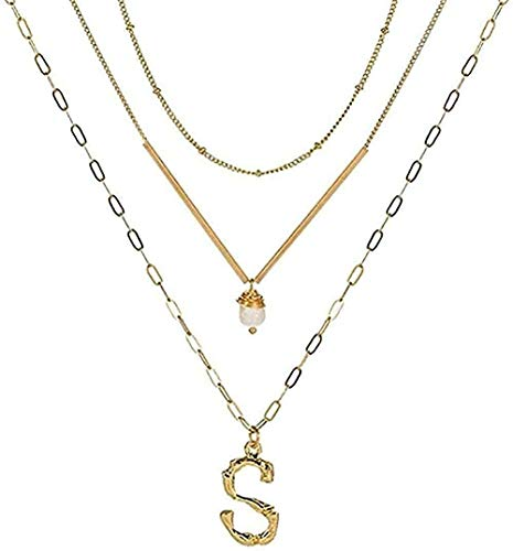 ZGYFJCH Co.,ltd Necklace Gold Metal Letter Alphabet Pendant Necklace Charm Gold Layered Link Chain Metal Bar Choker for Girls Gift Pendant Necklace Gift for Women Men Girls J