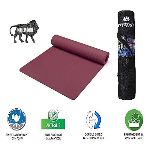 VIFITKIT Non Slip Yoga Mat with Free Bag, High Density Yoga mats for Home, Outdoor & Gym Workout (Made in India)
