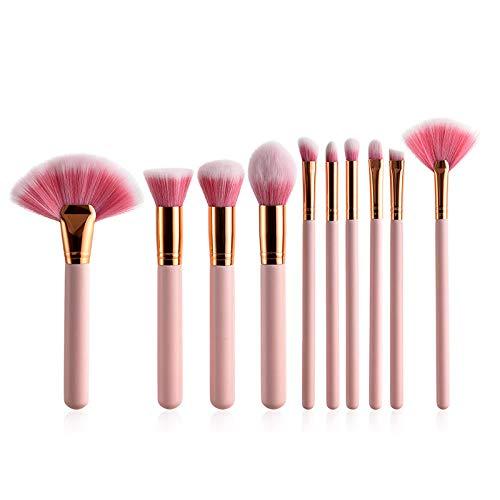 Llxhg 10 Pcs/Ensemble Pinceaux De Maquillage Professionnel Ensemble Maquillage Brosse Kits Poudre Bb Crème Blush Kabuki Cosmétiques Brosses Outils De Maquillage Rose