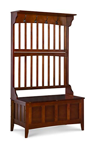 Linon  Hall Tree with Storage Bench, 36'W x 18'D x 64'H, Walnut