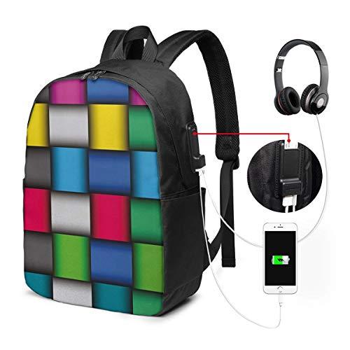WEQDUJG Mochila Portatil 17 Pulgadas Mochila Hombre Mujer con Puerto USB, 212 geométricos Mochila para El Laptop para Ordenador del Trabajo Viaje