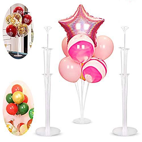 NAOLIU 3 Transparente Soporte de Globos,Kit de Soporte para Globos,Palos para Globos para La Decoración de La Mesa,Soporte Globos para Globos de Cumpleaños,para Fiestas,Bodas,Cumpleaños,Navidad