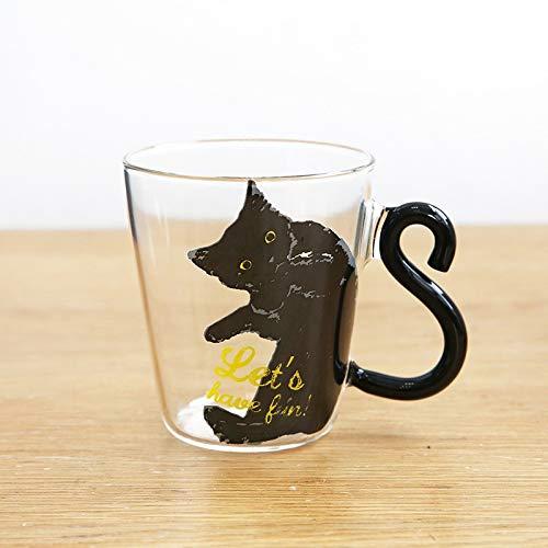 GQDZ 250ML nette Katze Glas Saft Kaffeetasse Milch-Tee-Kaffee-Glastasse Katzen-Schwanz Griff Katze Valentinstag Liebhaber Geschenke Edelstahl-Löffel Kaffeetasse (Color : Black2)