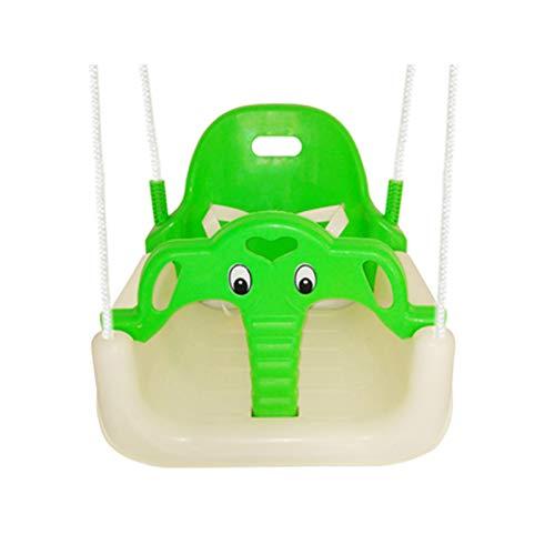 Hignful Infantil 3 En 1 Columpio Infantil De Jardin con Protección Madera para Seguridad, Sillón Colgante con Mosquetón, Asiento Infantil De Plegable, Forma De Elefante Asiento De Plástico,B